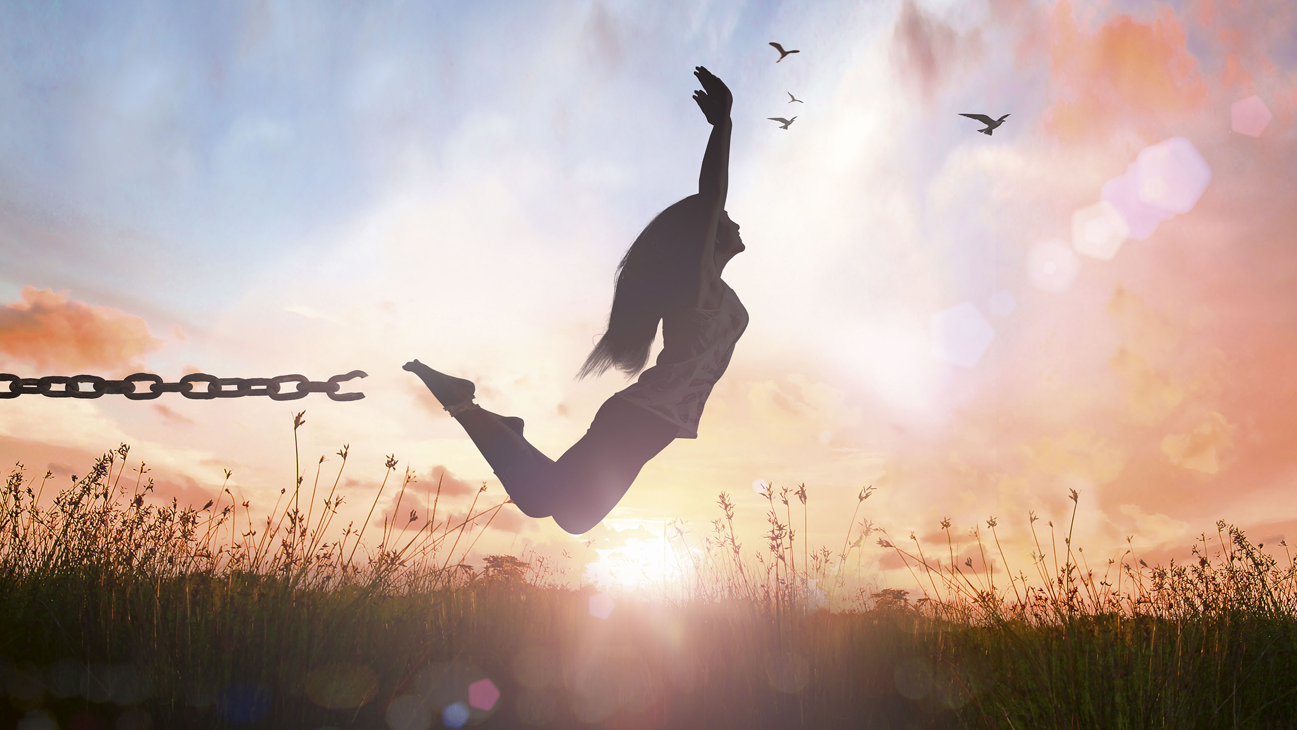 World environment day concept: Silhouette of a girl jumping and